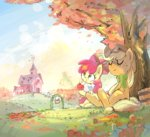 apple_bloom applejack apples highres nendo23 scarf sweet_apple_acres tree