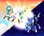 magic princess_celestia princess_luna riouku sword weapon