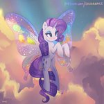 absurdres butterfly_wings cloud flying highres rarity xjenn9