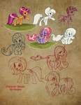 caakes cheerilee fim_crew pinkie_pie production_art scootaloo snowflake_(g1) starsong sunny_daze