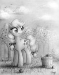 applejack apples grayscale theflyingmagpie