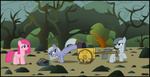 filly highres limestone_pie marble_pie pinkamena_diane_pie pinkie_pie rock_farm siblings toxic-mario