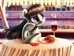 chryseum cityscape croissant fountain highres octavia_melody table water wine