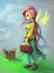 absurdres angel audrarius basket cardboard_box cat fluttershy highres humanized