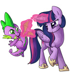 flight_spell imp-oster magic princess_twilight spike transparent twilight_sparkle wings
