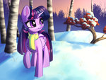absurdres faline highres princess_twilight scarf snow trees twilight_sparkle