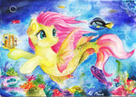 fish fluttershy lailyren merponies traditional_art underwater