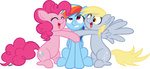 derpy_hooves hugs pinkie_pie rainbow_dash serenamidori transparent