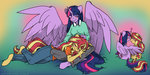 anthro mustlovefrogs princess_twilight shipping sunlight sunset_shimmer twilight_sparkle