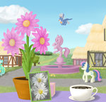 bench butterfly cloud cup flowers grass highres house lyra_heartstrings ponyville statue sweetie_drops table xodok