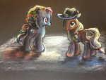 absurdres applejack explonova highres rainbow_dash toy traditional_art