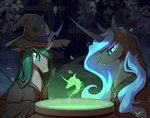 begasuslu cauldron costume hat highres nightmare_moon queen_chrysalis witch