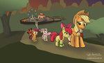 apple_bloom applejack circus cotton_candy cutie_mark_crusaders manticore naterrang plushie scootaloo sweetie_belle theme_park toy