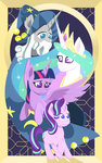 absurdres highres poecillia-gracilis19 princess_celestia princess_twilight starlight_glimmer starswirl_the_bearded twilight_sparkle