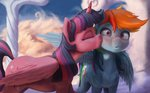 absurdres cloud highres kiss princess_twilight rainbow_dash shipping starblaze25 twidash twilight_sparkle