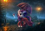 absurdres atlas-66 dress highres magic nighttime rain rarity streetlight umbrella