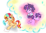 dreamscapevalley gender_swap humanized shipping sunlight sunset_shimmer twilight_sparkle