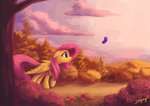 butterfly cloud fluttershy lolliponybrony toadstool trees