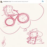 bicycle fluttershythekind highres pinkie_pie sandwich sketch