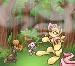 420 angel ferret fluttershy forest joint mushroom squirrel stoneypony stump