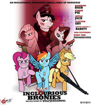 applejack baseball_bat dagger dog_tag fluttershy gun inglourious_basterds military parody pinkie_pie pistol poster rainbow_dash rarity weapon wolfjedisamuel