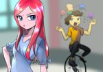 anime cheese_sandwich humanized pinkamena_diane_pie pinkie_pie quizia unicycle