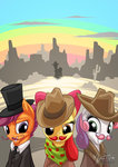 apple_bloom bandana coat cutie_mark_crusaders hat highres mustache mysticalpha scootaloo sweetie_belle
