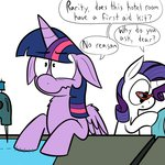 glasses injured karpet-shark princess_twilight rarity sewing sewing_machine twilight_sparkle