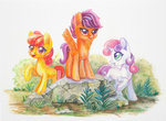 apple_bloom cutie_mark_crusaders highres maytee scootaloo sweetie_belle traditional_art