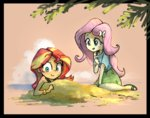 beach equestria_girls fluttershy highres humanized nendo23 sand sunset_shimmer