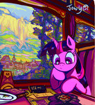 absurdres book highres house jowybean mountain scenery train trees twilight_sparkle