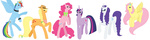 absurdres alexkingofthedamned applejack bow collar flowers fluttershy glasses handkerchief highres main_six old pinkie_pie rainbow_dash rarity twilight_sparkle