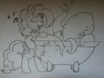 bath cephalopod lineart octopus pinkie_pie singing tub whitelightningbolt