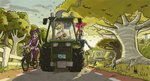 apple_bloom applejack bicycle humanized livestream sunset the_artrix tractor twilight_sparkle