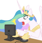 computer funakounasoul i_shall_not_use_my_hooves_as_hands looking_at_the_place_which_shall_not_be_named princess_celestia reaction_image