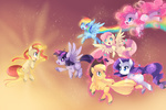 applejack fluttershy highres pinkie_pie princess_twilight rainbow rainbow_dash rarity sunset_shimmer twilight_sparkle xazteiin