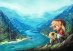 applejack assasinmonkey bag boots clothes fjord highres mountain river scenery