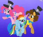 cheese_sandwich hat highres kikirdcz party_hat pinkie_pie rainbow_dash tophat