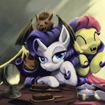 bakuel bat brush flutterbat fluttershy mirror rarity