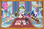absurdres apple_bloom applejack artist_unknown background_ponies canterlot caramel cutie_mark_crusaders dress fluttershy highres lyra_heartstrings main_six meadow_song minuette noteworthy pinkie_pie poster princess_cadance princess_celestia princess_luna rainbow rainbow_dash rarity scootaloo shining_armor spike suit sweetie_belle toy twilight_sparkle twinkleshine wedding
