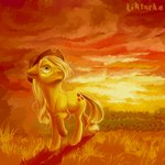 absurdres applejack highres liktarka-animal sunset