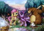 angel assasinmonkey bear fluttershy highres mud princess_twilight twilight_sparkle
