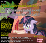 baww glasses grown_up magic old paraderpy quill spike twilight_sparkle wall_of_text