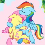flutterdash fluttershy ponett rainbow_dash shipping sleeping
