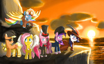 applejack colorsymphony eyepatch fluttershy goggles hat main_six pinkie_pie rainbow_dash rarity steampunk tophat twilight_sparkle