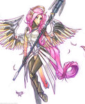 anthro costume crossover fluttershy mercy overwatch rikkitz