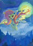 bat bat_pony flutterbat fluttershy flying lexx2dot0 maytee moon traditional_art