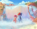 absurdres cloud flowers freeedon highres rainbow_dash scootaloo squirrel water waterfall
