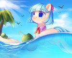 beach bird coco_pommel highres leafywind sea swimming tree water