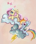 absurdres butterfly filly flowers fluttershy highres lightning rainbow_dash snufflin